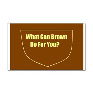 what_can_brown_do_for_you_oval_sticker_sticker