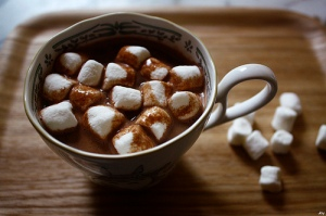 hot chocolate and white marshmallows