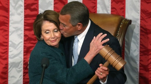 House Speaker John Boehner takes the gavel from Democratic Minority Leader Nancy Pelosi Jan. 6 at the start of the 114th Congress